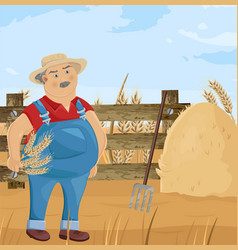 farmer and hay cartoon character funny man vector image