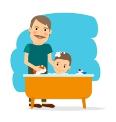 Father and son taking bath vector