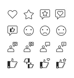 Feedback and like line icon vector