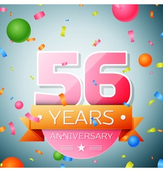 Fifty six years anniversary celebration background vector image