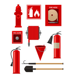 flat set of firefighting items fireman vector image