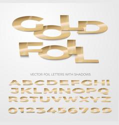 font golden foil letters cut out and bent vector image