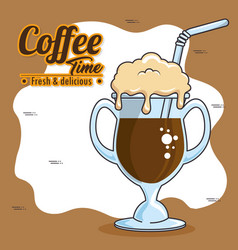 Frappe and cold drink coffee vector