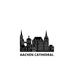 germany aachen cathedral flat travel skyline set vector image