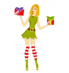 girl santa helper vector image