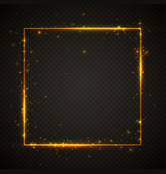 Gold shiny glitter glowing vintage frame vector