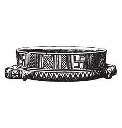 Greek vase is a geometric style vintage engraving vector
