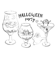 Halloween cocktails hand draw vector
