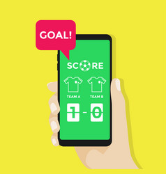 hand holding smartphone with live score soccer vector image
