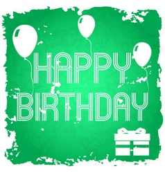Happy birthday on the green old paper background vector