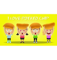 Happy people carrying big potato chips vector