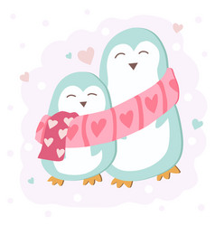 happy valentines day with cute penguin couple vector image