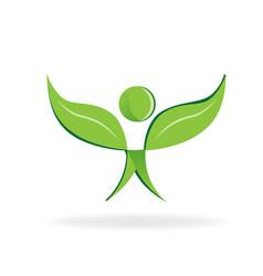 Healthy leaf man figure symbol icon vector