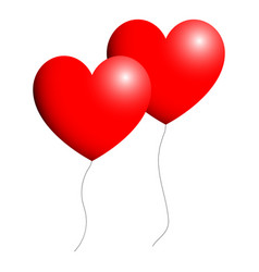 Heart red color two items with view ballon vector