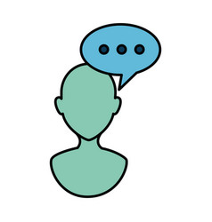 Human profile with speech bubble vector