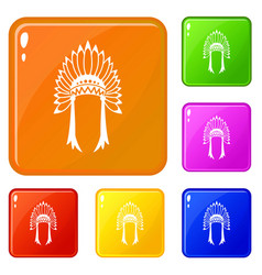 indian headdress icons set color vector image