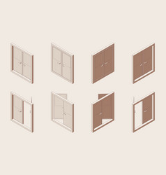 isometric outline set closed and open double vector image
