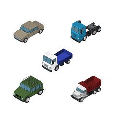 isometric transport set of lorry freight truck vector image