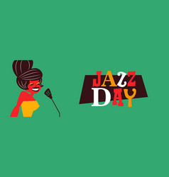 Jazz day banner of retro mid century woman singer vector