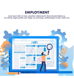 Job search man zoom employment newspaper article vector