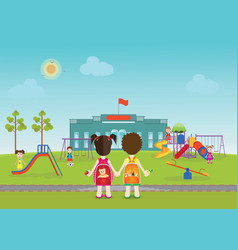 Kids playing on playground with equipment vector