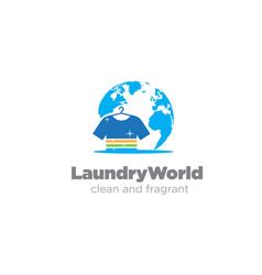Laundry world association logo designs simple vector