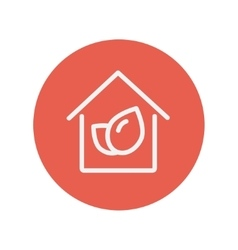 Leaf house thin line icon vector