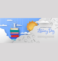 Literacy day banner man in papercut book mountain vector