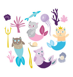 Little mermaid kitten collection kitty cat with vector