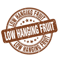 Low hanging fruit brown grunge stamp vector