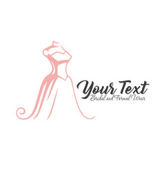 luxury boutique bridal dress floral logo template vector image