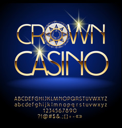 luxury gold crown casino emblem vector image