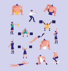 Men practicing sports avatar character vector