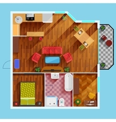 One Bedroom Apartment Floor Plan vector image