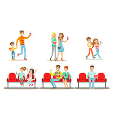 people in cinema set men women and kids vector image