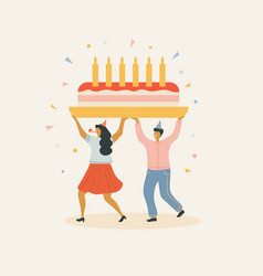 People with a large cake and candles vector