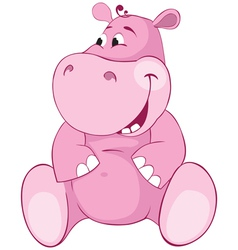 Pink hippopotamus first teeth vector image