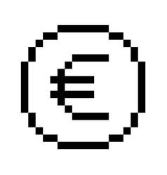 Pixel euro icon vector
