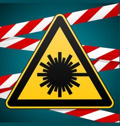 Safety sign caution - danger laser radiation vector