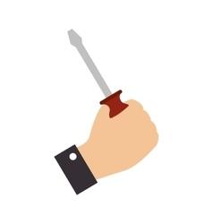 screwdriver hand grab construction icon vector image