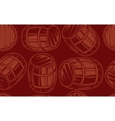 seamless background with barrels for drinks on vector image