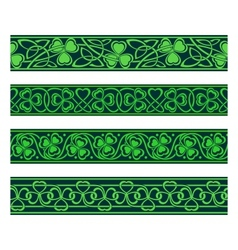 Seamless borders with shamrock vector