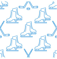 seamless pattern with skates and clubs linear icon vector image