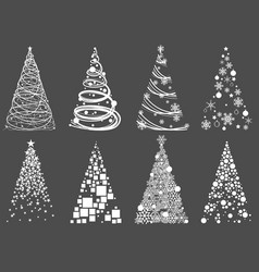 set abstract christmas tree vector image