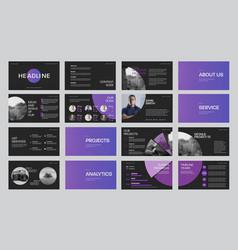 Set black slide templates with gradient purple vector