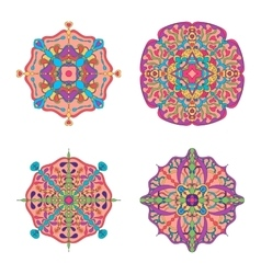 Set of four circle abstract ornament vector image