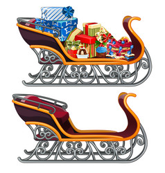 Set of iron sleigh of santa claus with gifts and vector