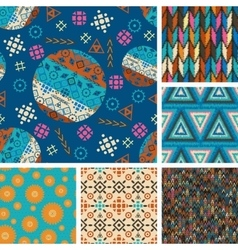 set of seamless patterns tribal vector image