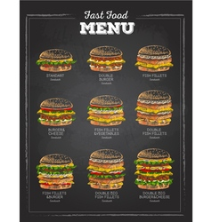 Set of Vintage chalk drawing Sandwich sketch vector
