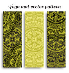 Set yoga mats with ethnic designs green and vector